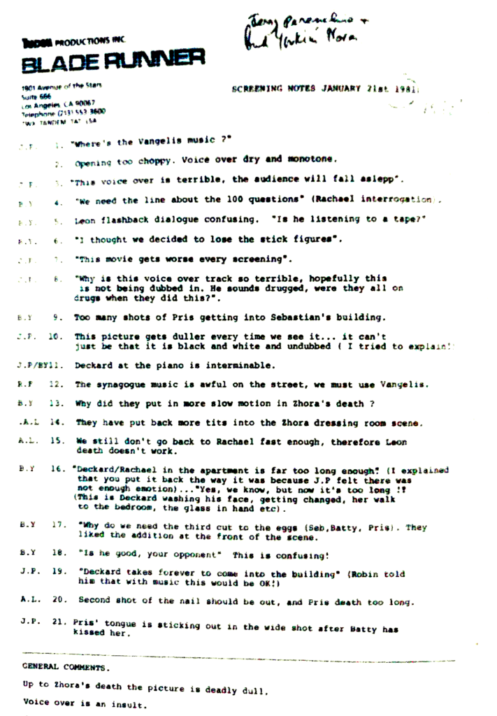 Blade Runner's notes on screening